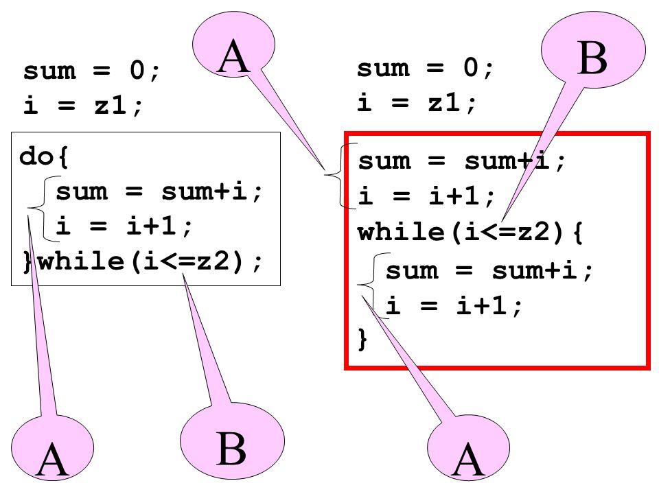A B B A A sum = 0; sum = 0; i = z1; i = z1; do{ sum = sum+i;