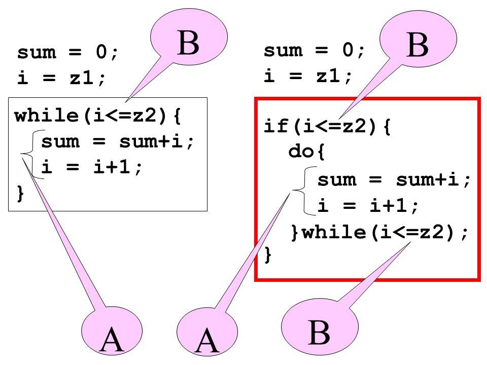 B B B A A sum = 0; i = z1; sum = 0; i = z1; while(i<=z2){