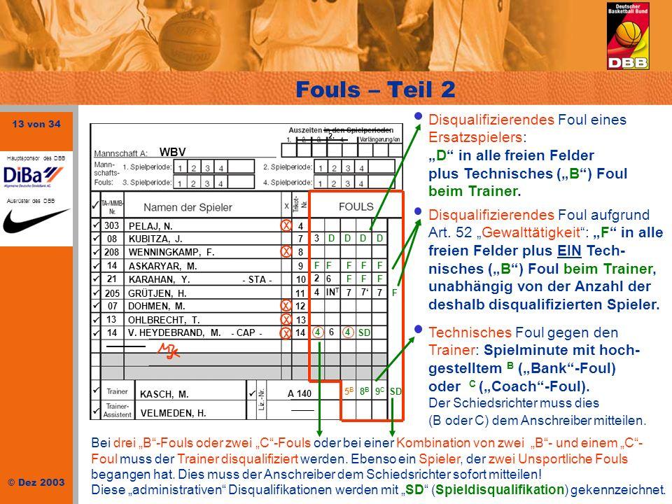 """Fouls – Teil 2Disqualifizierendes Foul eines Ersatzspielers: """"D in alle freien Felder plus Technisches (""""B ) Foul beim Trainer."""