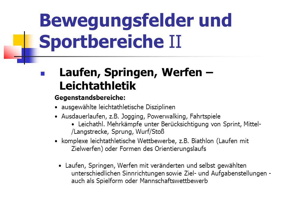 Bewegungsfelder und Sportbereiche II