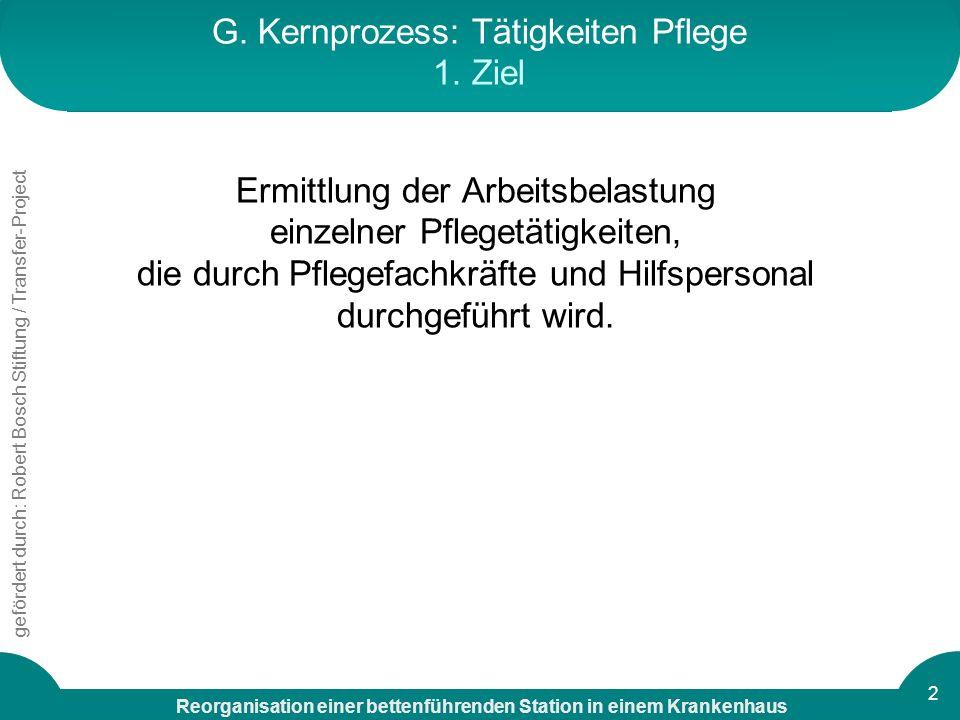 G. Kernprozess: Tätigkeiten Pflege 1. Ziel