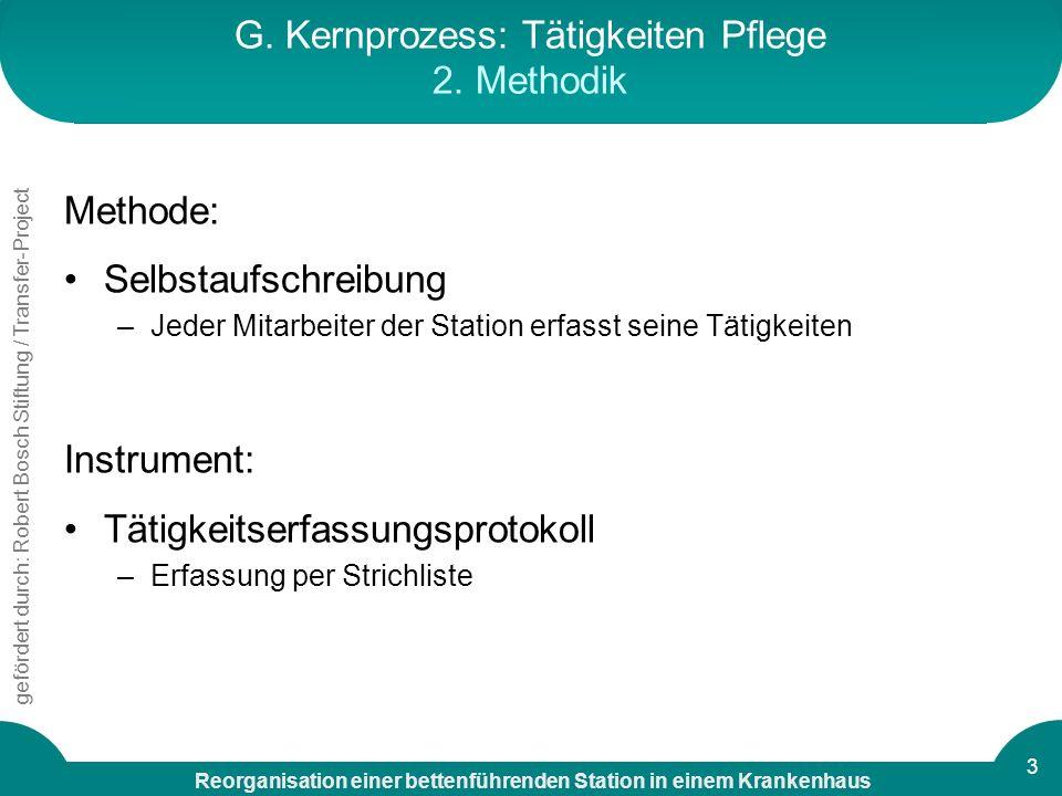 G. Kernprozess: Tätigkeiten Pflege 2. Methodik