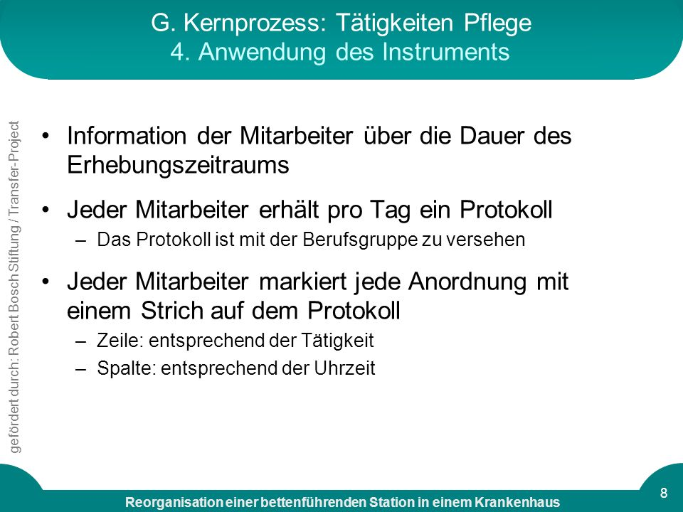 G. Kernprozess: Tätigkeiten Pflege 4. Anwendung des Instruments