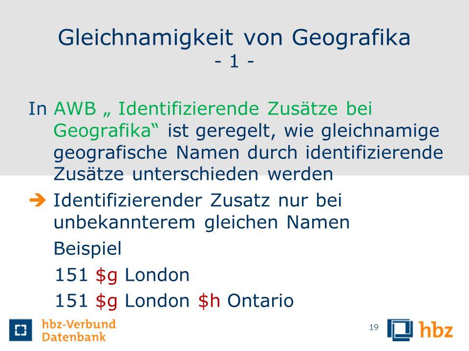 Gleichnamigkeit von Geografika - 1 -