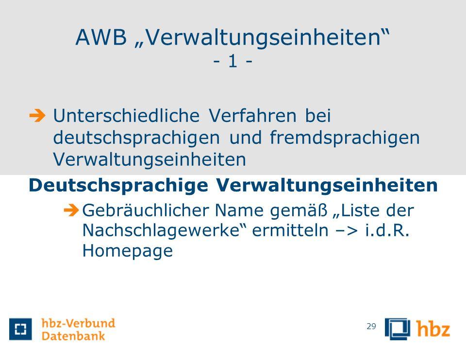"""AWB """"Verwaltungseinheiten - 1 -"""