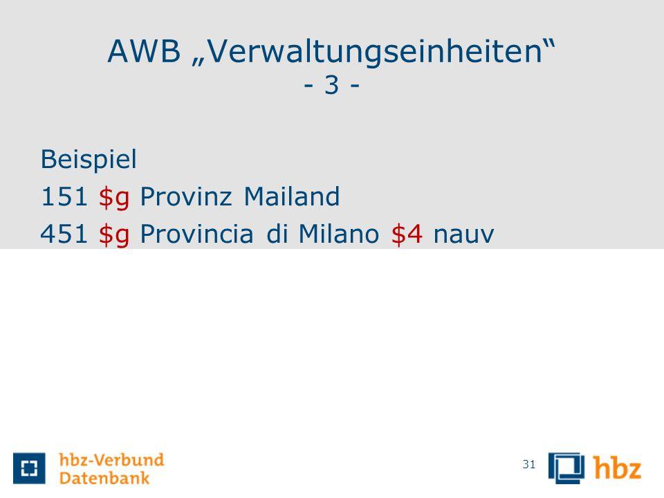 """AWB """"Verwaltungseinheiten - 3 -"""