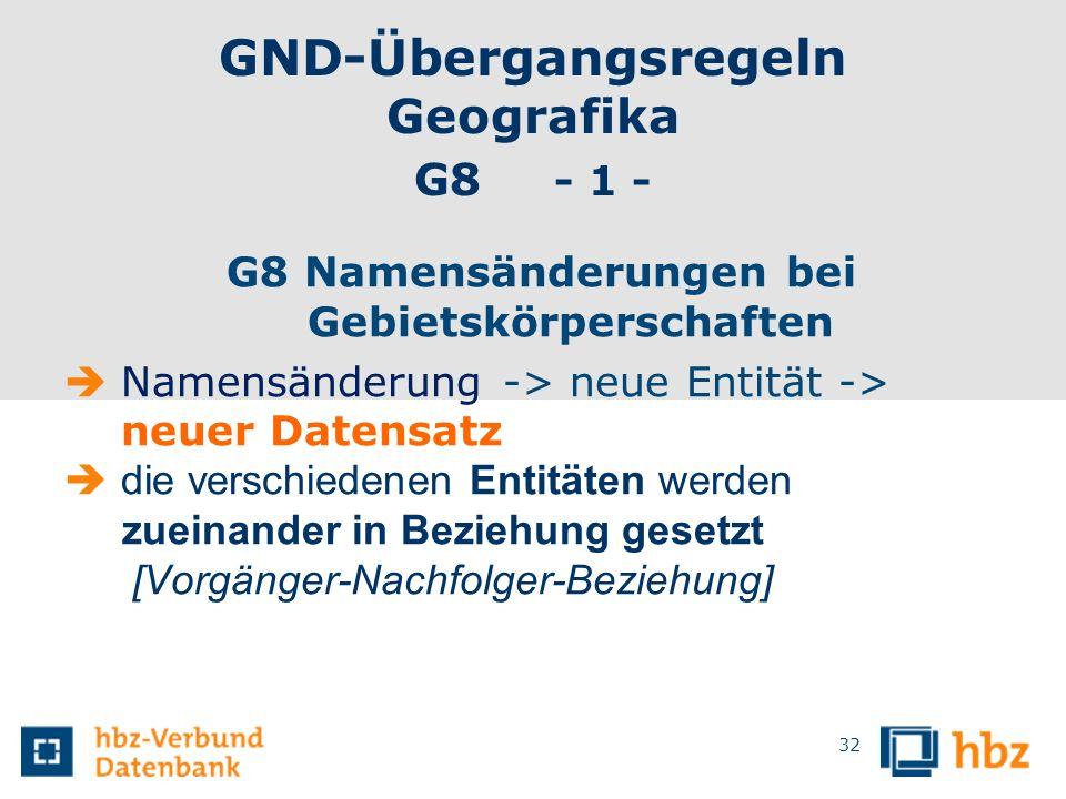 GND-Übergangsregeln Geografika G8 - 1 -