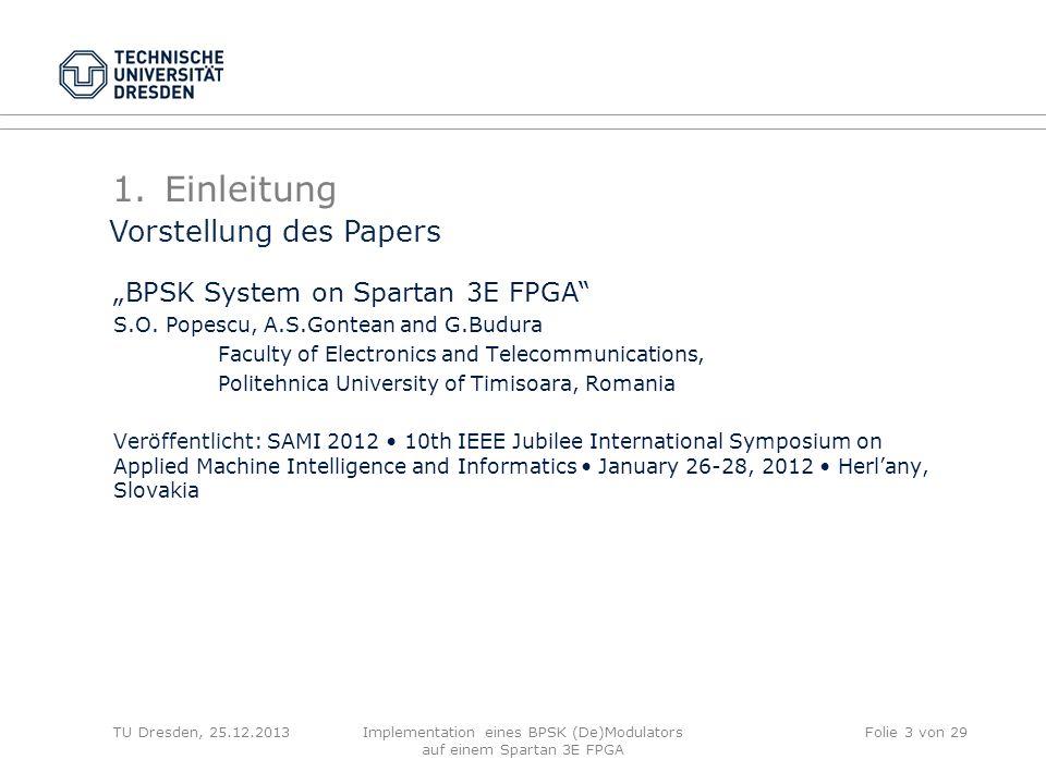 Implementation eines BPSK (De)Modulators auf einem Spartan 3E FPGA