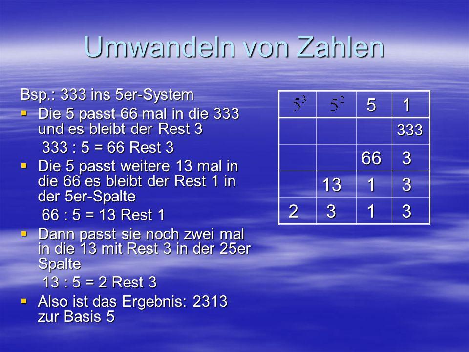 Umwandeln von Zahlen 5 1 66 3 13 2 333 Bsp.: 333 ins 5er-System