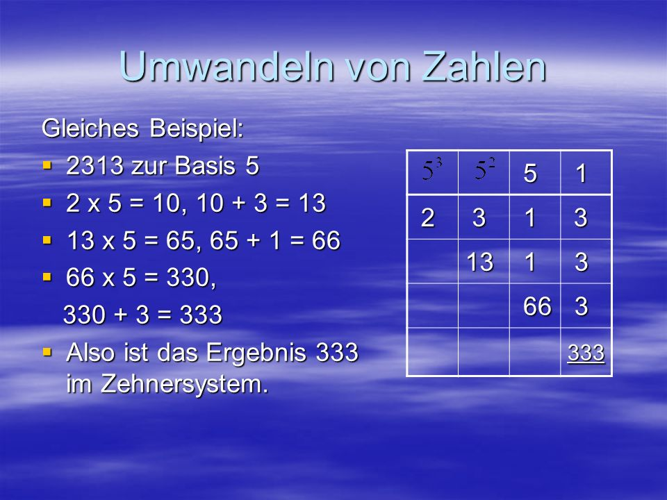 Umwandeln von Zahlen Gleiches Beispiel: 2313 zur Basis 5
