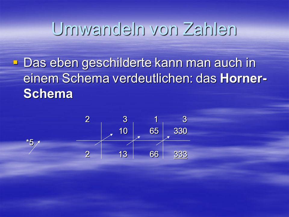 Umwandeln von ZahlenDas eben geschilderte kann man auch in einem Schema verdeutlichen: das Horner-Schema.