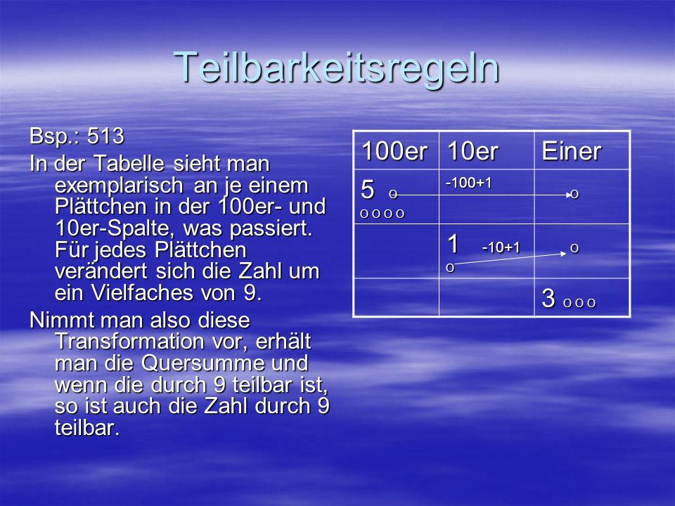 Teilbarkeitsregeln 100er 10er Einer 5 O O 1 -10+1 3 O O O Bsp.: 513