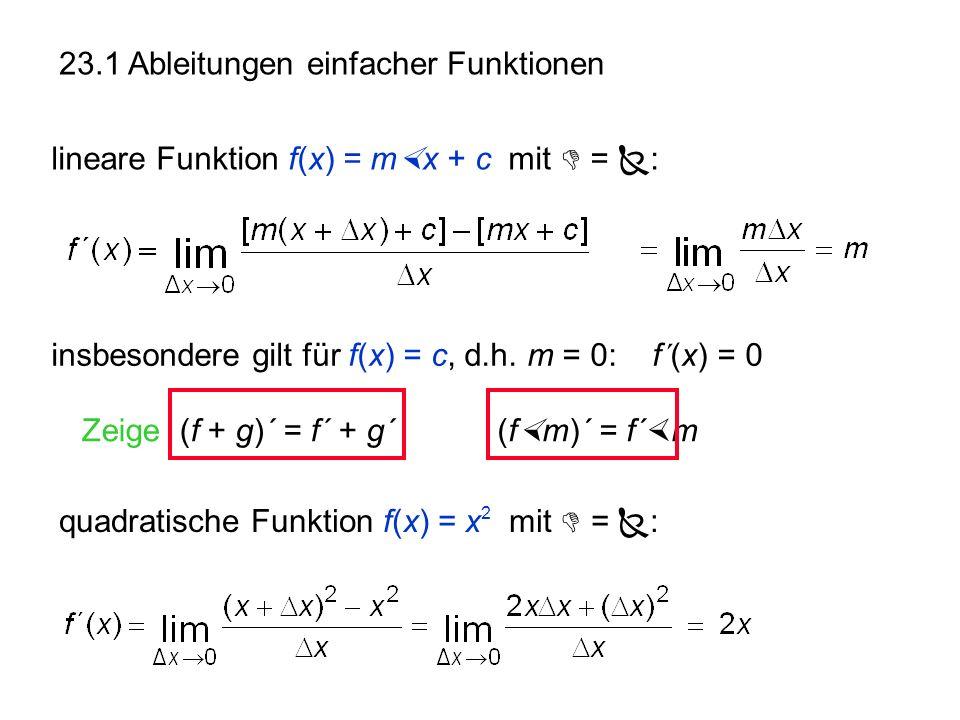 23.1 Ableitungen einfacher Funktionen