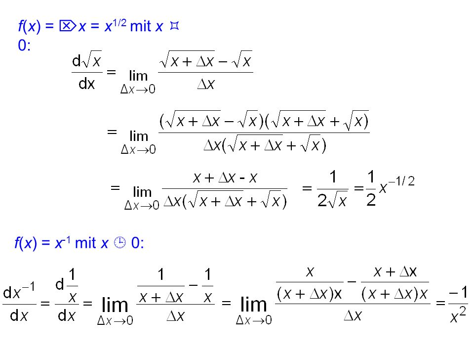 f(x) = x = x1/2 mit x  0: f(x) = x-1 mit x  0: