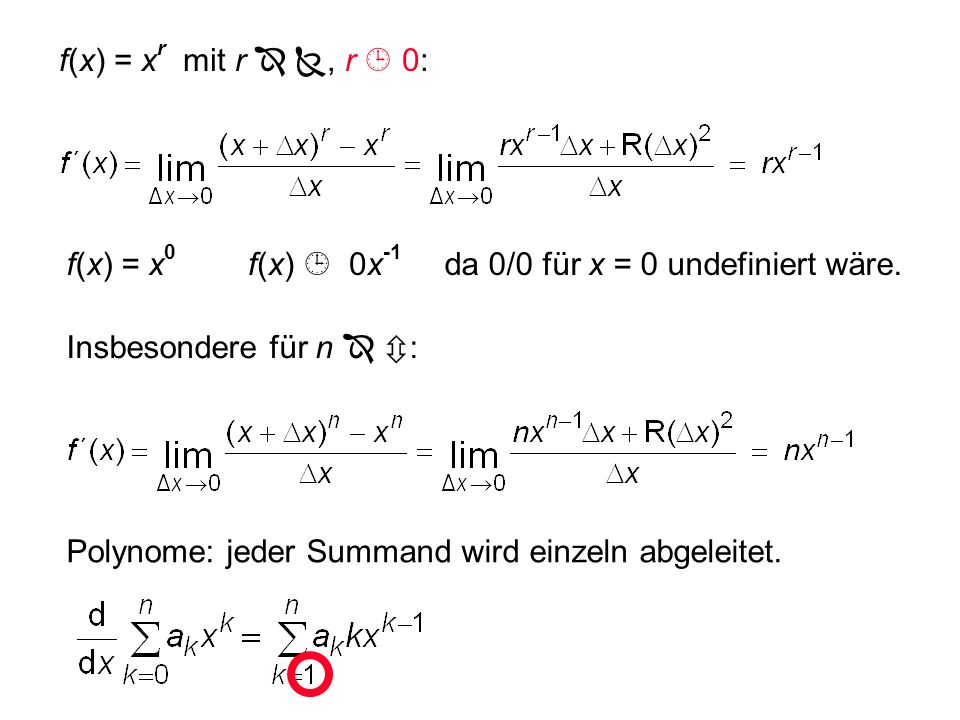 f(x) = xr mit r  , r  0:f(x) = x0. f(x)  0x-1. da 0/0 für x = 0 undefiniert wäre. Insbesondere für n  :