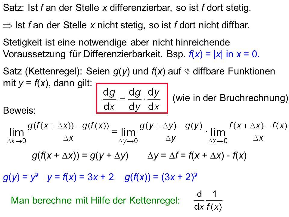 Satz: Ist f an der Stelle x differenzierbar, so ist f dort stetig.