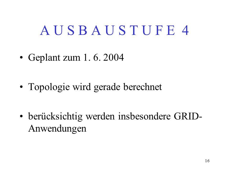 A U S B A U S T U F E 4 Geplant zum 1. 6. 2004
