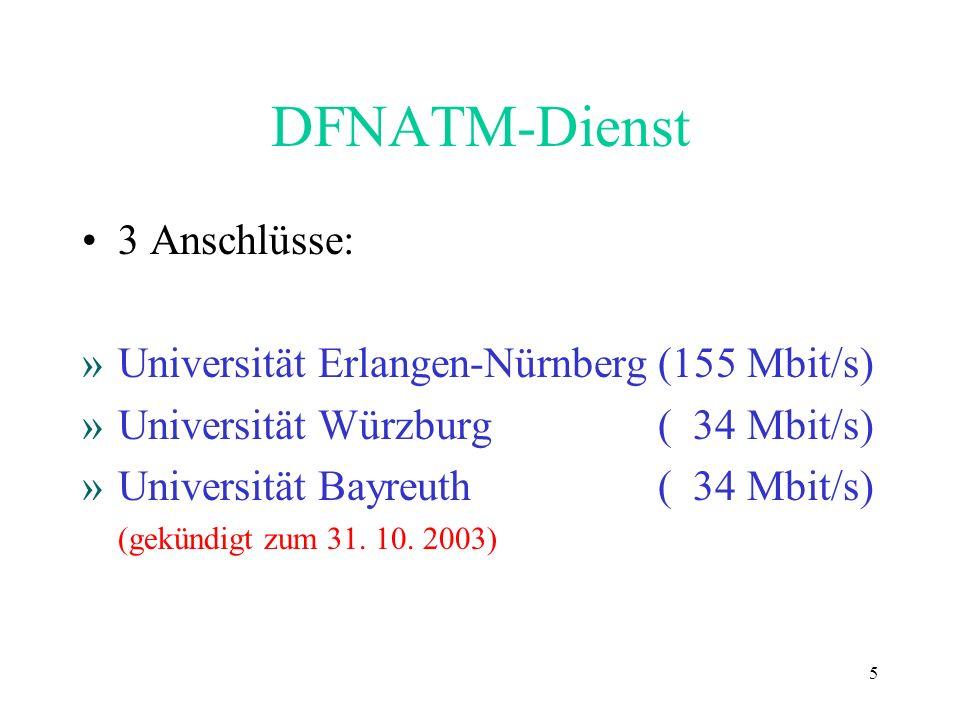 DFNATM-Dienst 3 Anschlüsse: Universität Erlangen-Nürnberg (155 Mbit/s)