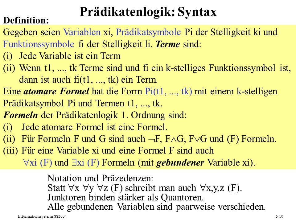 Prädikatenlogik: Syntax