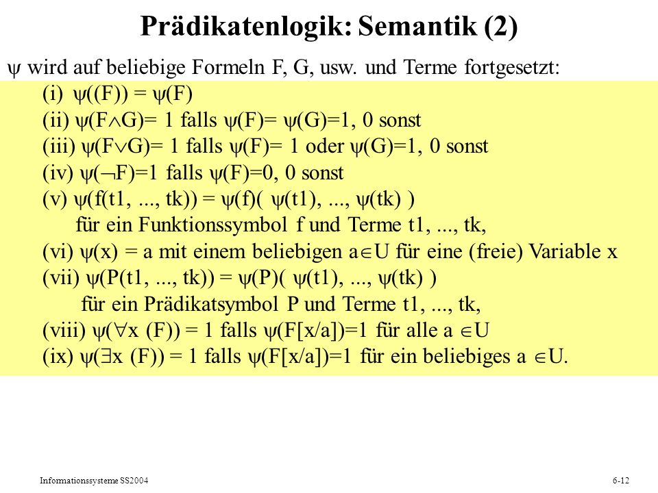 Prädikatenlogik: Semantik (2)