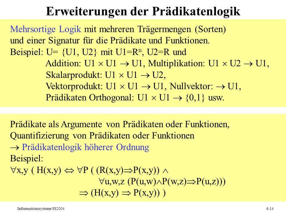 Erweiterungen der Prädikatenlogik