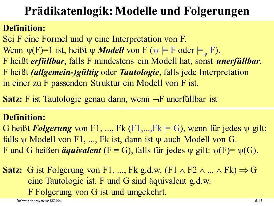 Prädikatenlogik: Modelle und Folgerungen