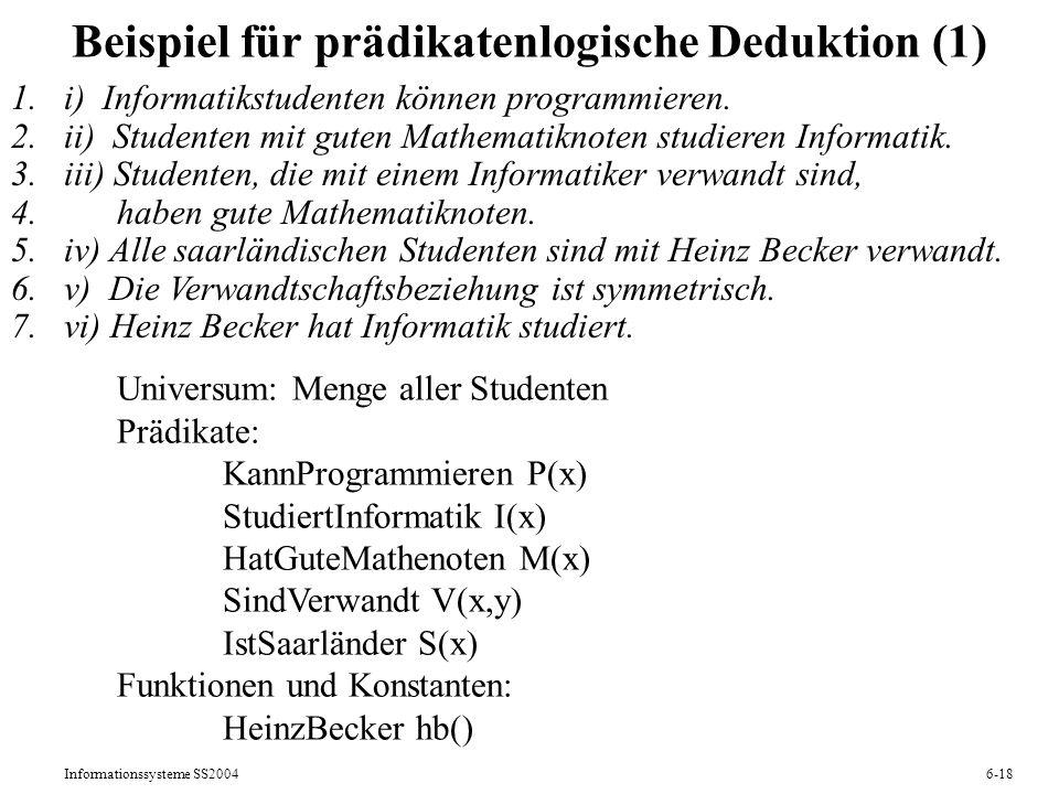Beispiel für prädikatenlogische Deduktion (1)