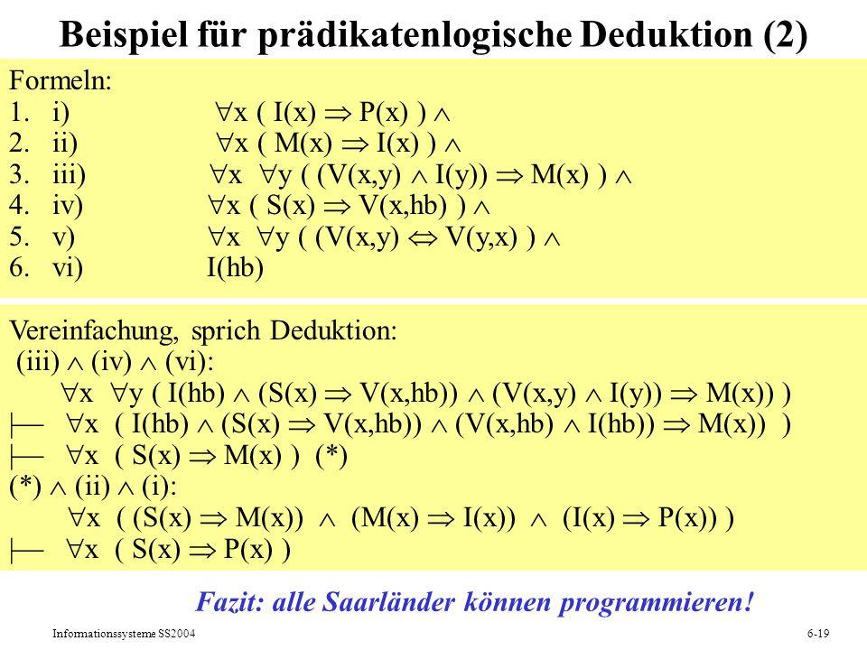 Beispiel für prädikatenlogische Deduktion (2)