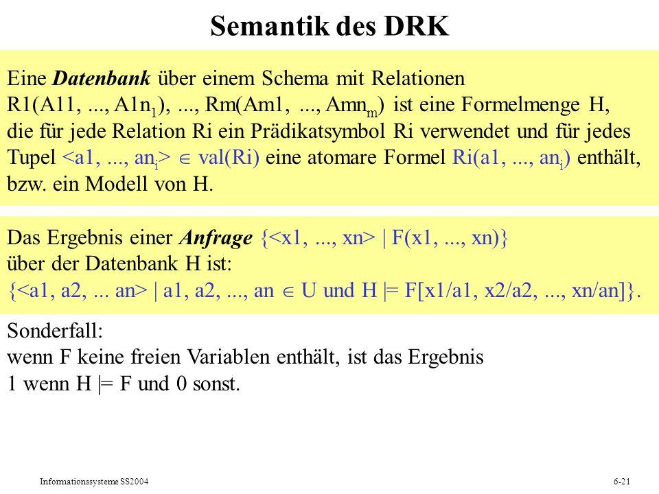 Semantik des DRK Eine Datenbank über einem Schema mit Relationen