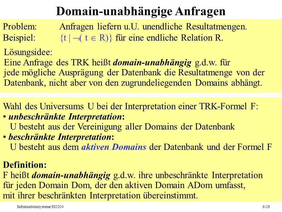 Domain-unabhängige Anfragen