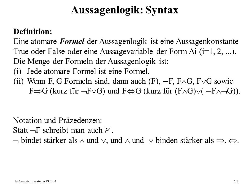 Aussagenlogik: Syntax
