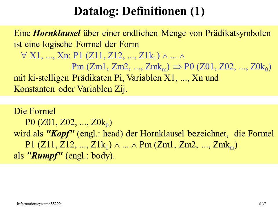 Datalog: Definitionen (1)