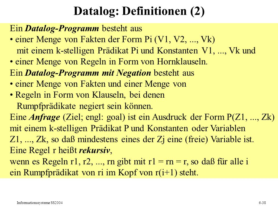 Datalog: Definitionen (2)