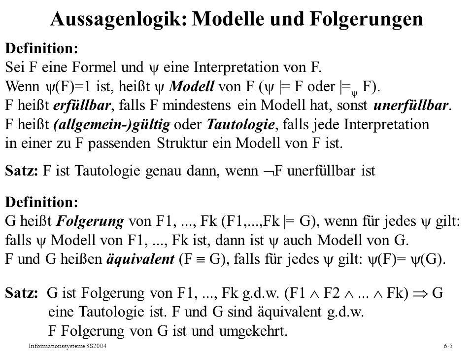 Aussagenlogik: Modelle und Folgerungen