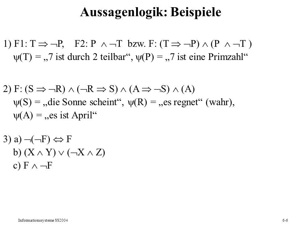Aussagenlogik: Beispiele