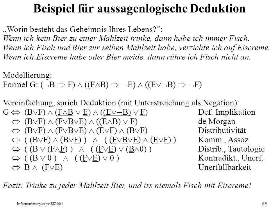 Beispiel für aussagenlogische Deduktion