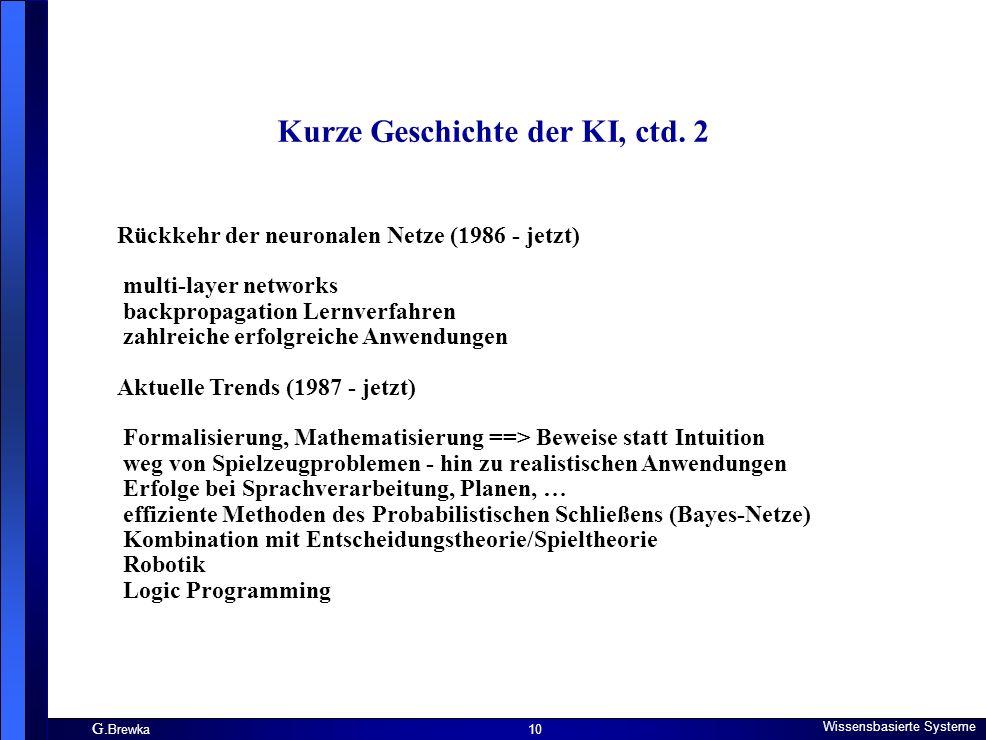 Kurze Geschichte der KI, ctd. 2