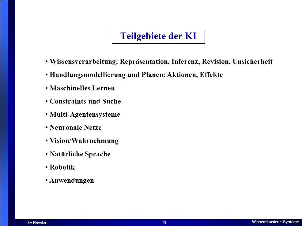 Teilgebiete der KI Wissensverarbeitung: Repräsentation, Inferenz, Revision, Unsicherheit. Handlungsmodellierung und Planen: Aktionen, Effekte.