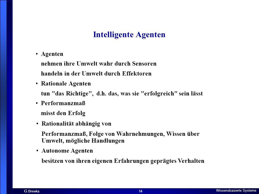 Intelligente Agenten Agenten nehmen ihre Umwelt wahr durch Sensoren