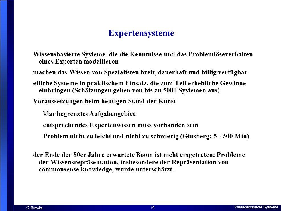 Expertensysteme Wissensbasierte Systeme, die die Kenntnisse und das Problemlöseverhalten eines Experten modellieren.