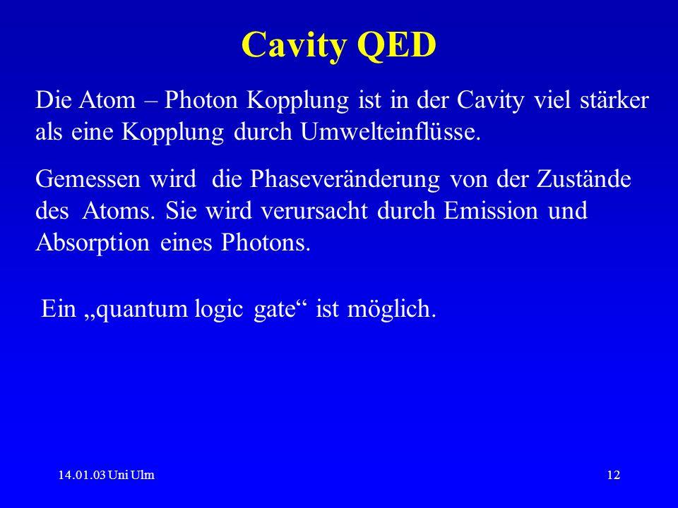 Cavity QEDDie Atom – Photon Kopplung ist in der Cavity viel stärker als eine Kopplung durch Umwelteinflüsse.