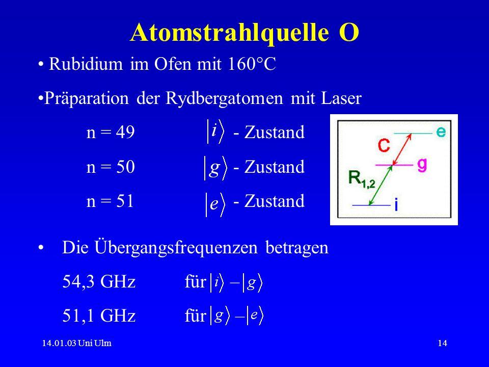 Atomstrahlquelle O Rubidium im Ofen mit 160°C