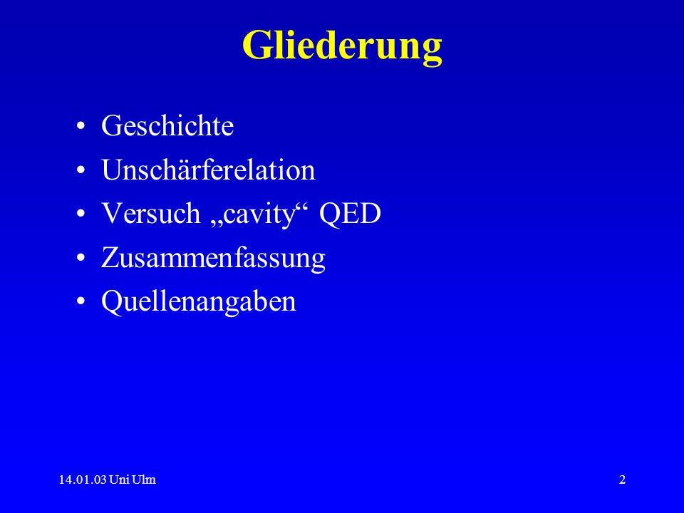 """Gliederung Geschichte Unschärferelation Versuch """"cavity QED"""
