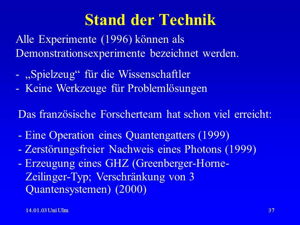 Stand der Technik Alle Experimente (1996) können als Demonstrationsexperimente bezeichnet werden.