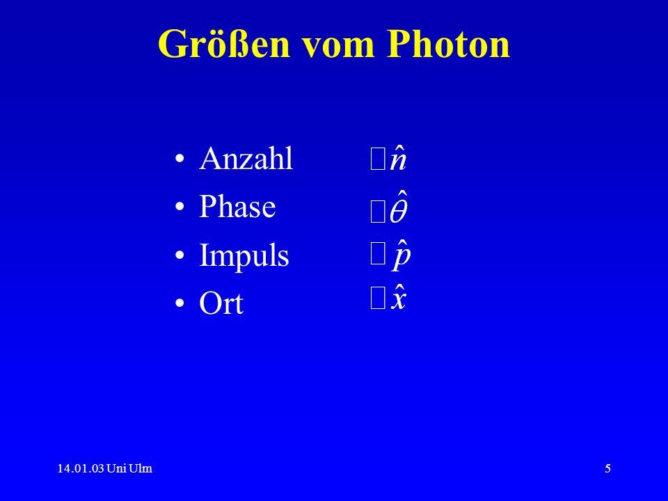Größen vom Photon Anzahl Phase Impuls Ort 14.01.03 Uni Ulm