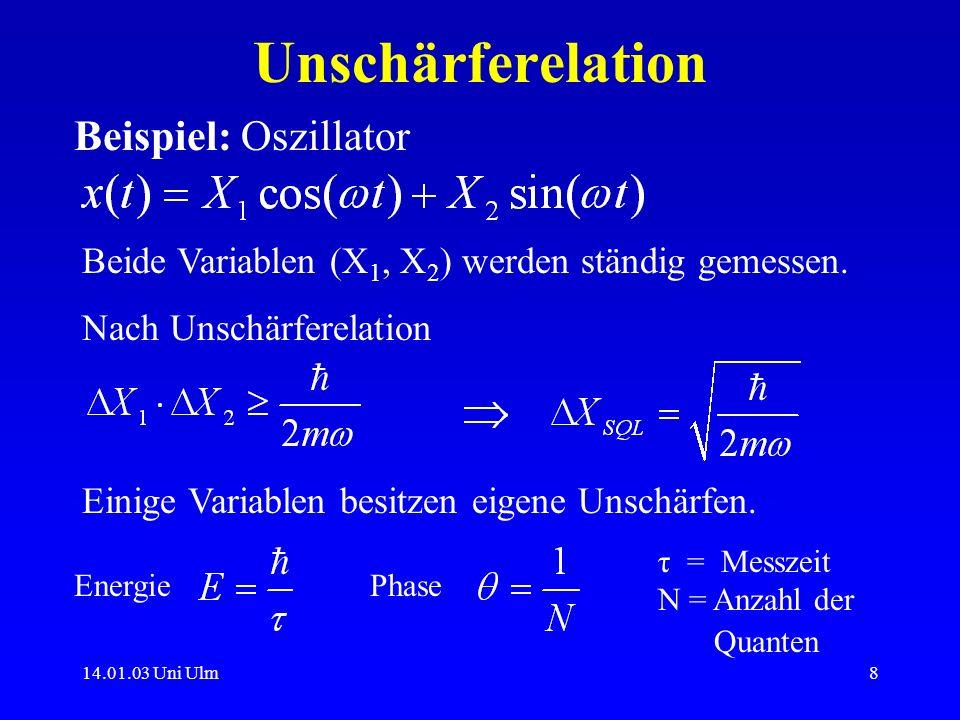 Unschärferelation Beispiel: Oszillator