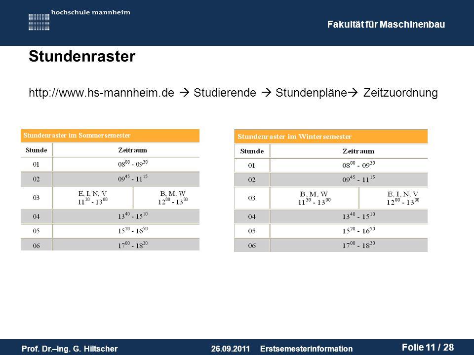 Stundenraster http://www.hs-mannheim.de  Studierende  Stundenpläne Zeitzuordnung