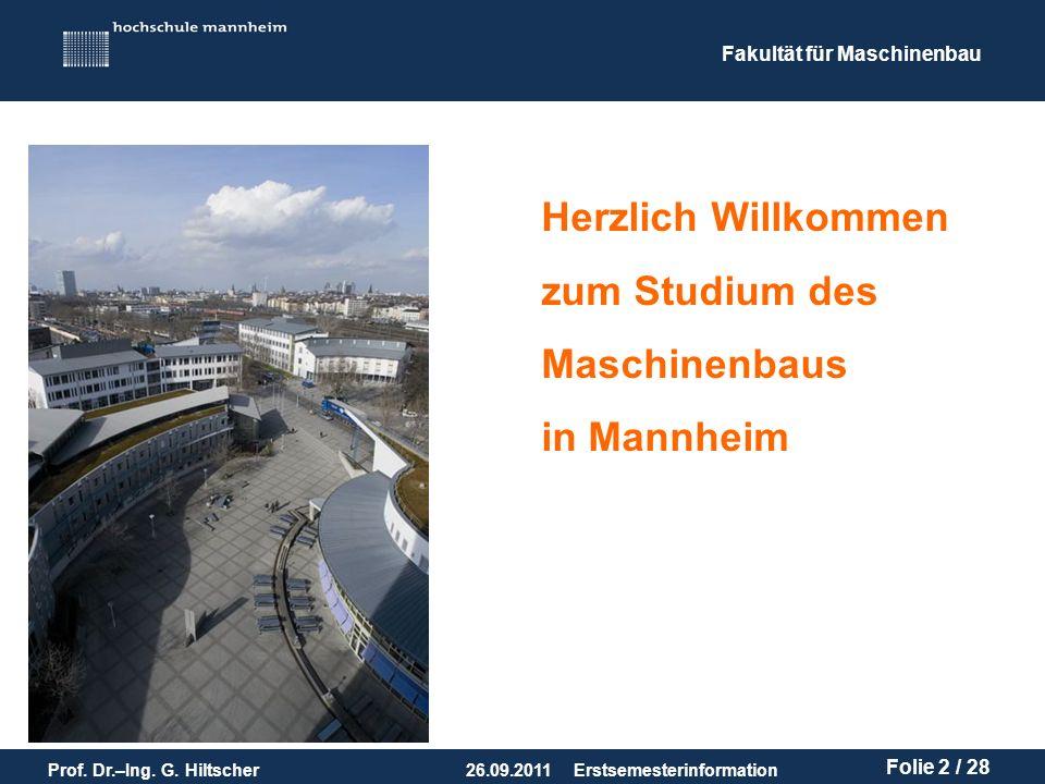 Herzlich Willkommen zum Studium des Maschinenbaus in Mannheim