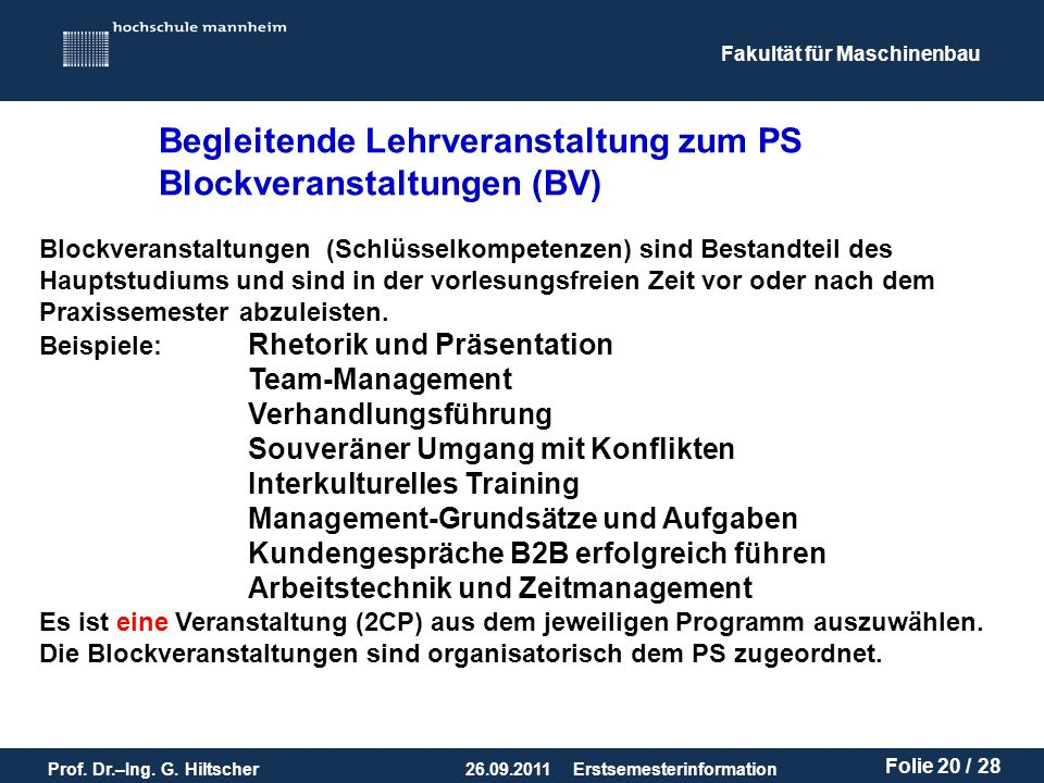 Begleitende Lehrveranstaltung zum PS Blockveranstaltungen (BV)