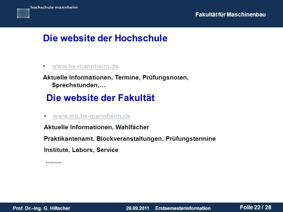 Die website der Hochschule
